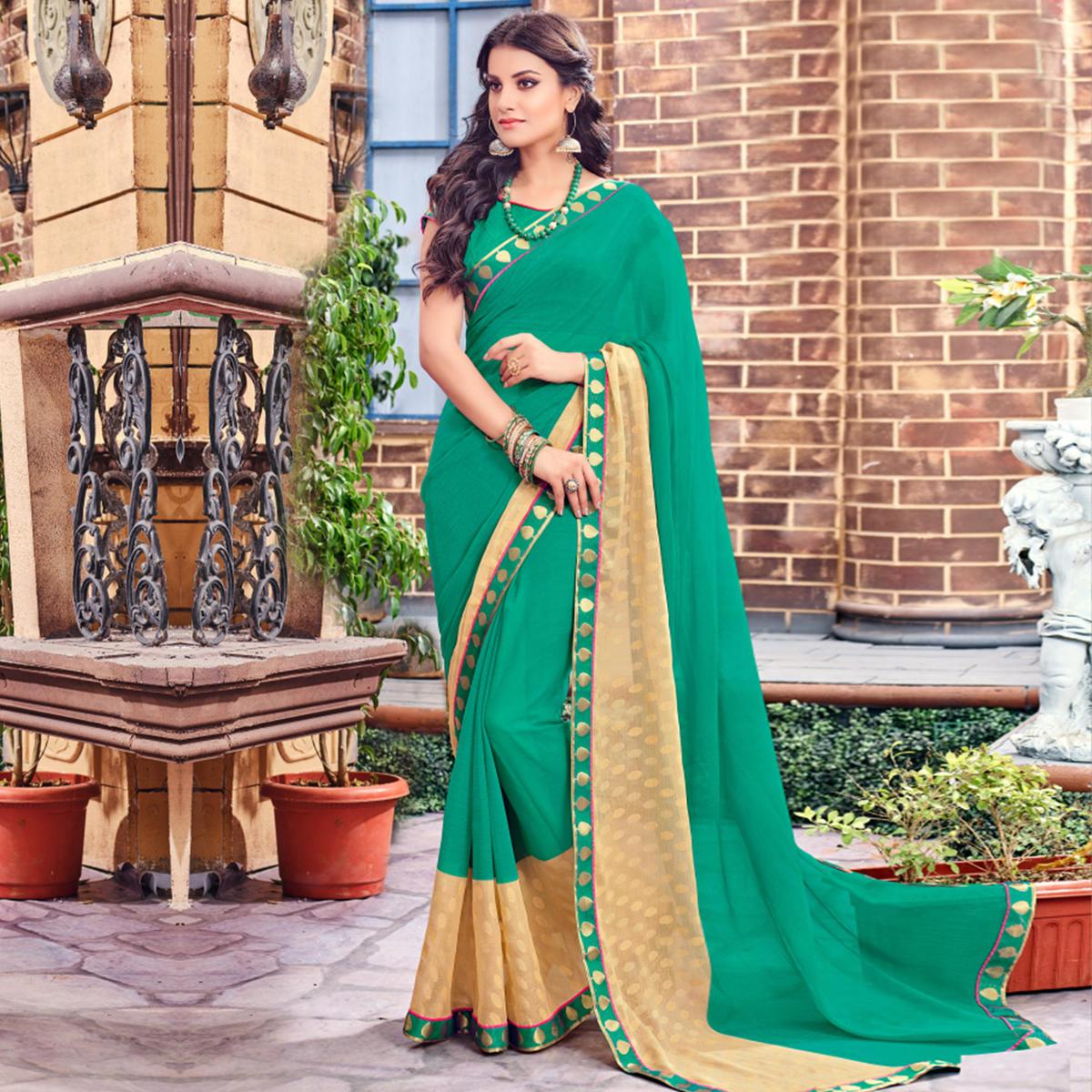 Green Print & Lace Work Brasso Saree