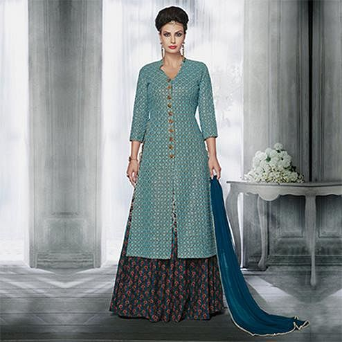 Light Blue Embroidered Work Lehenga Kameez