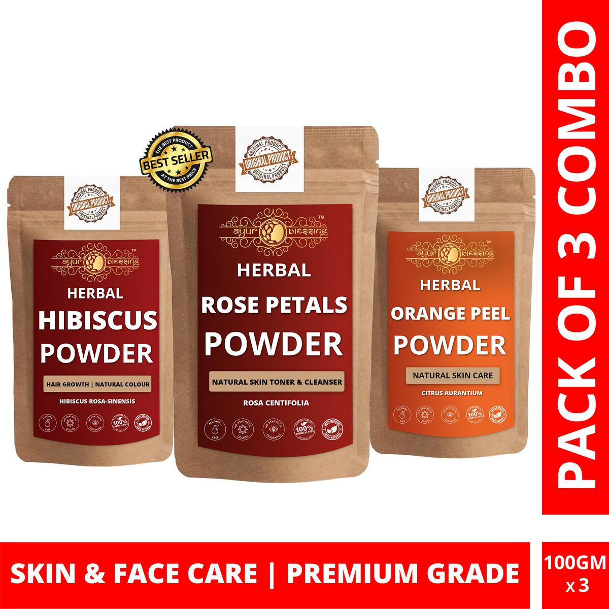 Rose Petals, Hibiscus and Orange Peel Powder By Ayur Blessing | Triple Combo | For Face Pack and Skin Care