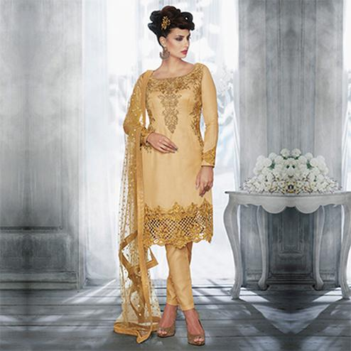 Beige Tussar Silk Zari Embroidered Work Suit
