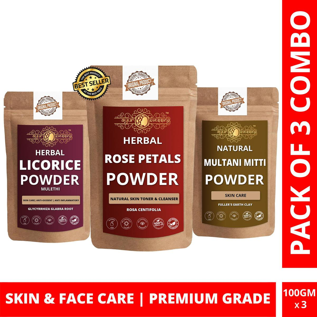 Rose Petals, Licorice and Multani Mitti Powder By Ayur Blessing   Triple Combo   For Face Pack and Skin Care
