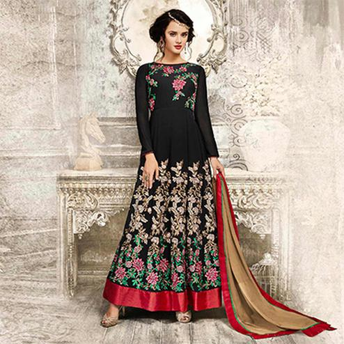 Black Anarkali Style Semi Georgette Suit