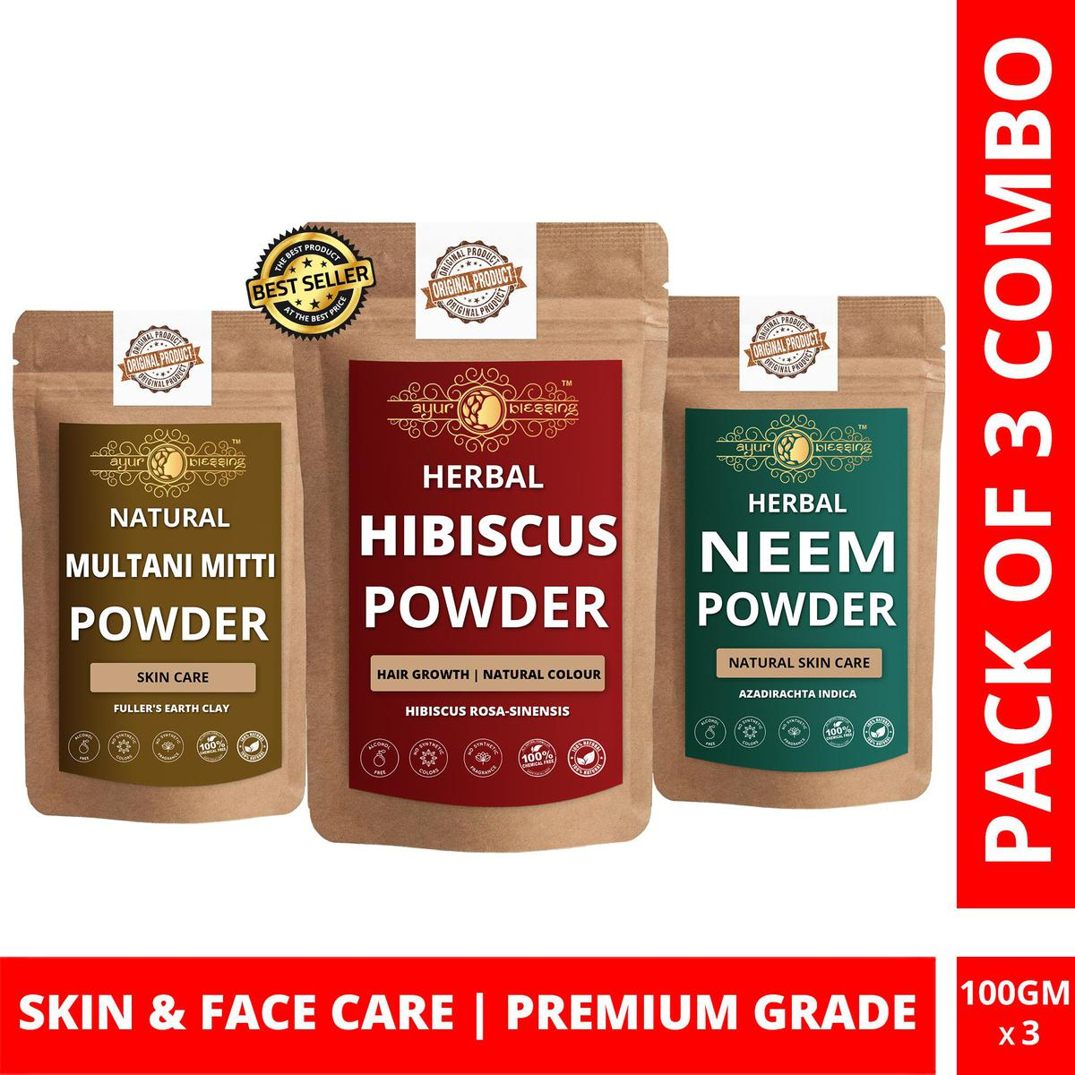 Hibiscus, Multani Mitti and Neem Powder By Ayur Blessing   Triple Combo   For Face Pack and Skin Care