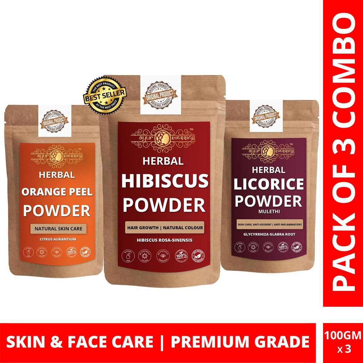 Hibiscus, Orange Peel and Licorice Powder By Ayur Blessing   Triple Combo   For Face Pack and Skin Care