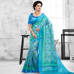 Blue Casual Wear Printed Saree