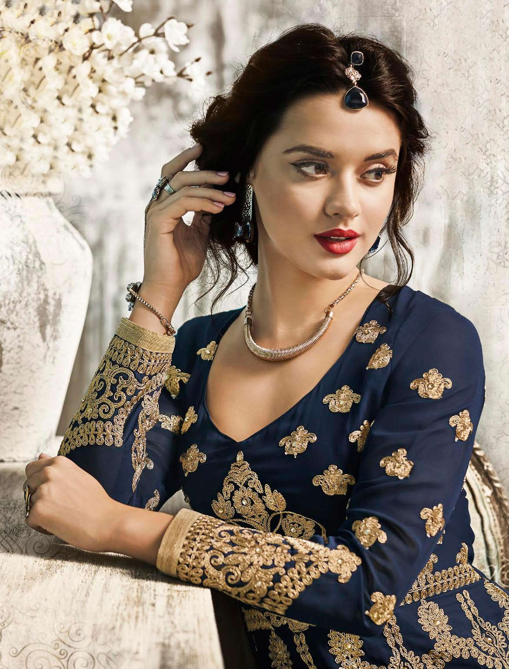 Navy Blue Embroidered Work Anarkali Style Suit