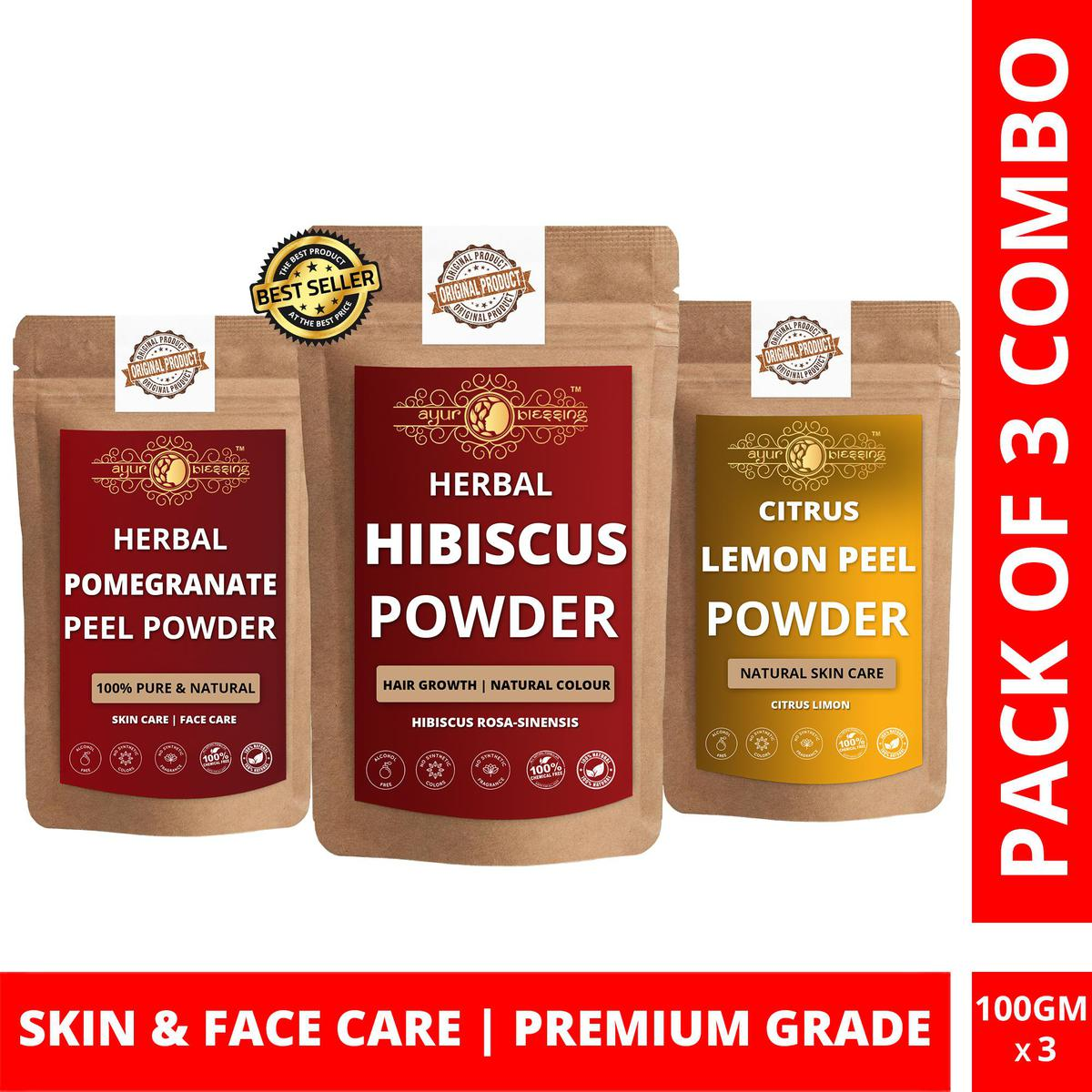 Hibiscus, Pomegranate Peel and Lemon Peel Powder By Ayur Blessing   Triple Combo   For Face Pack and Skin Care