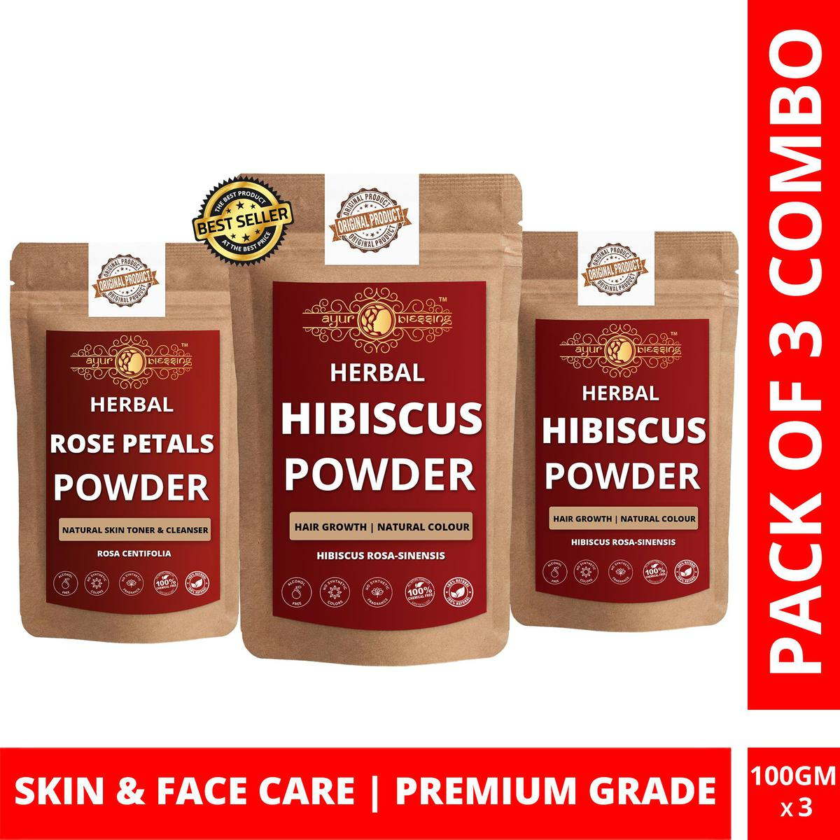 Hibiscus Twin Pack and Rose Petals Powder By Ayur Blessing | Triple Combo | For Face Pack and Skin Care