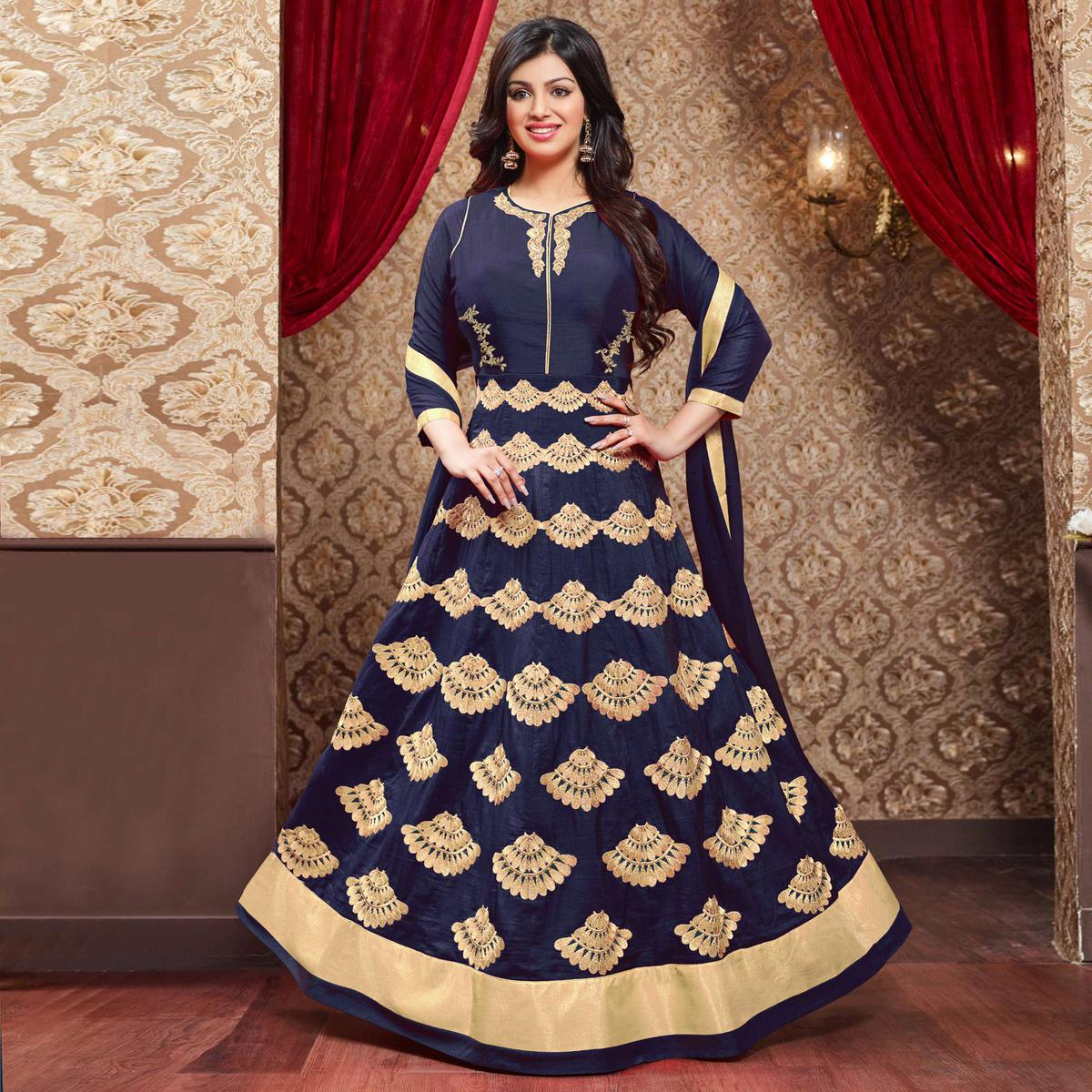 Navy Blue Silk & Georgette Anarkali Suit