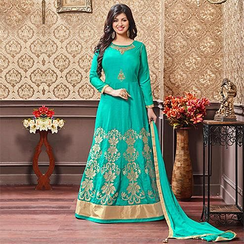 Green Embroidered Work Silk & Georgette Anarkali