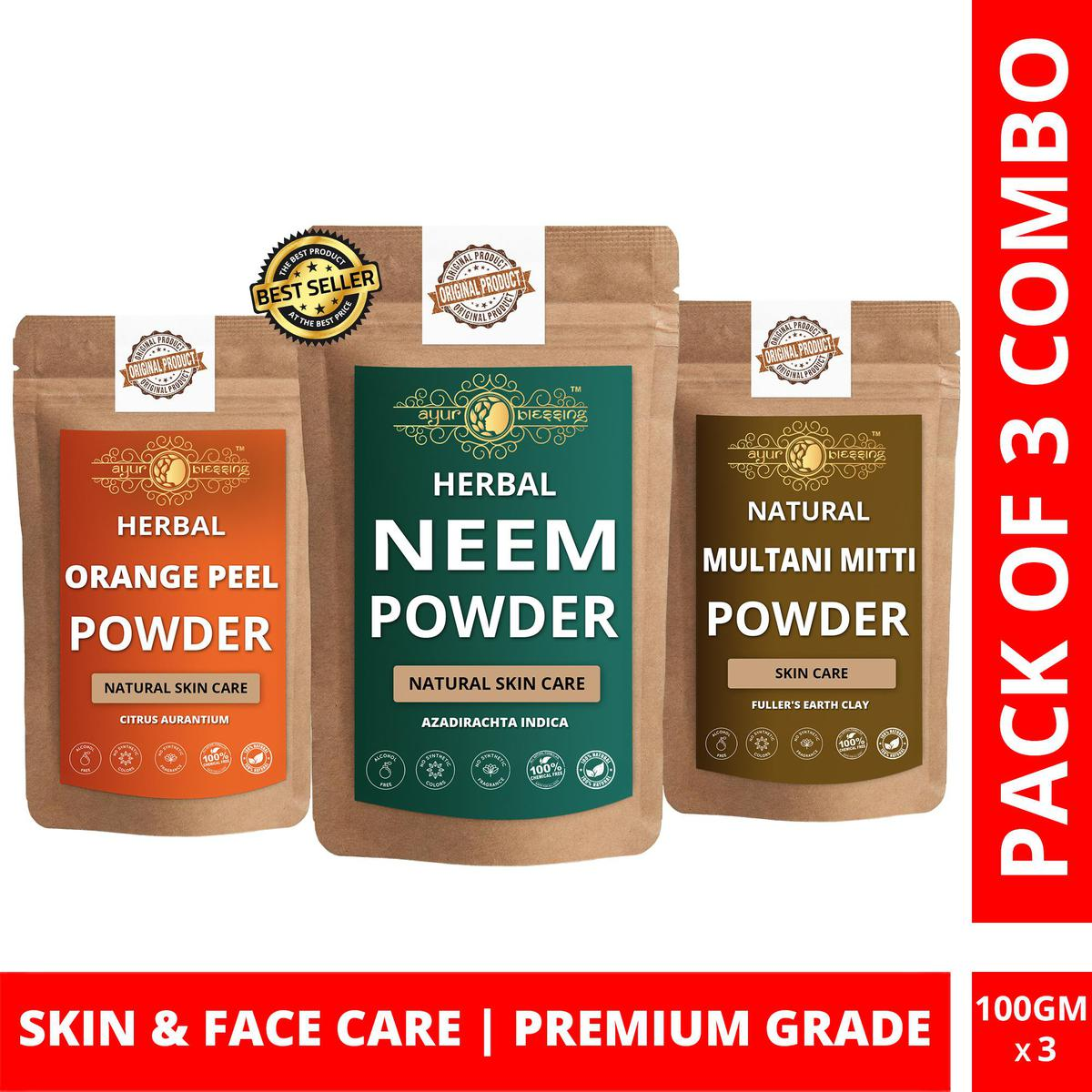 Neem, Orange Peel and Multani Mitti Powder By Ayur Blessing | Triple Combo | For Face Pack and Skin Care