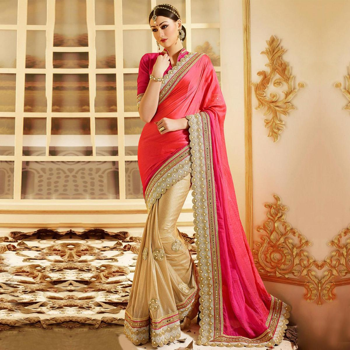 Pink - Beige Embroidered Work Half Saree