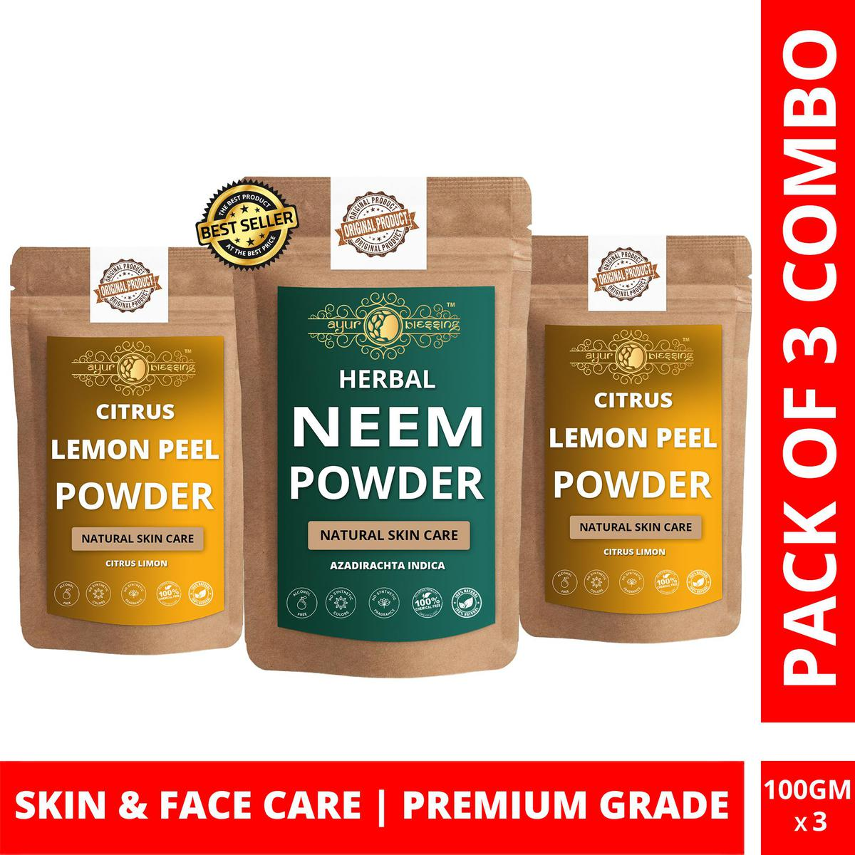 Neem and Twin Pack Lemon Peel Powder By Ayur Blessing   Triple Combo   For Face Pack and Skin Care