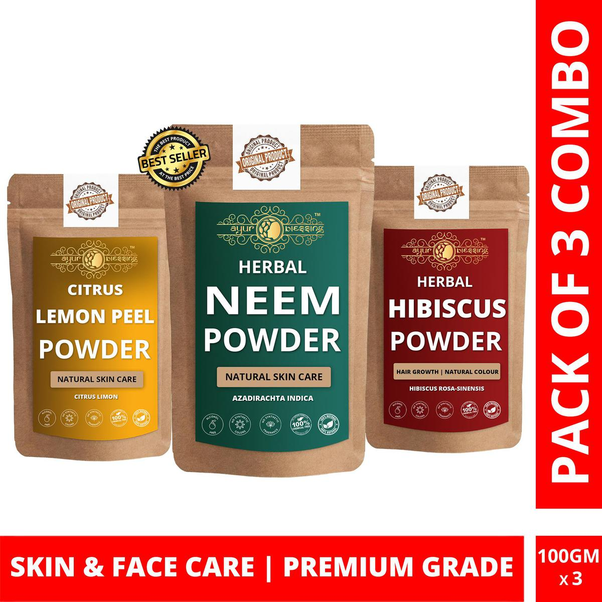 Neem, Lemon Peel and Hibiscus Powder By Ayur Blessing   Triple Combo   For Face Pack and Skin Care