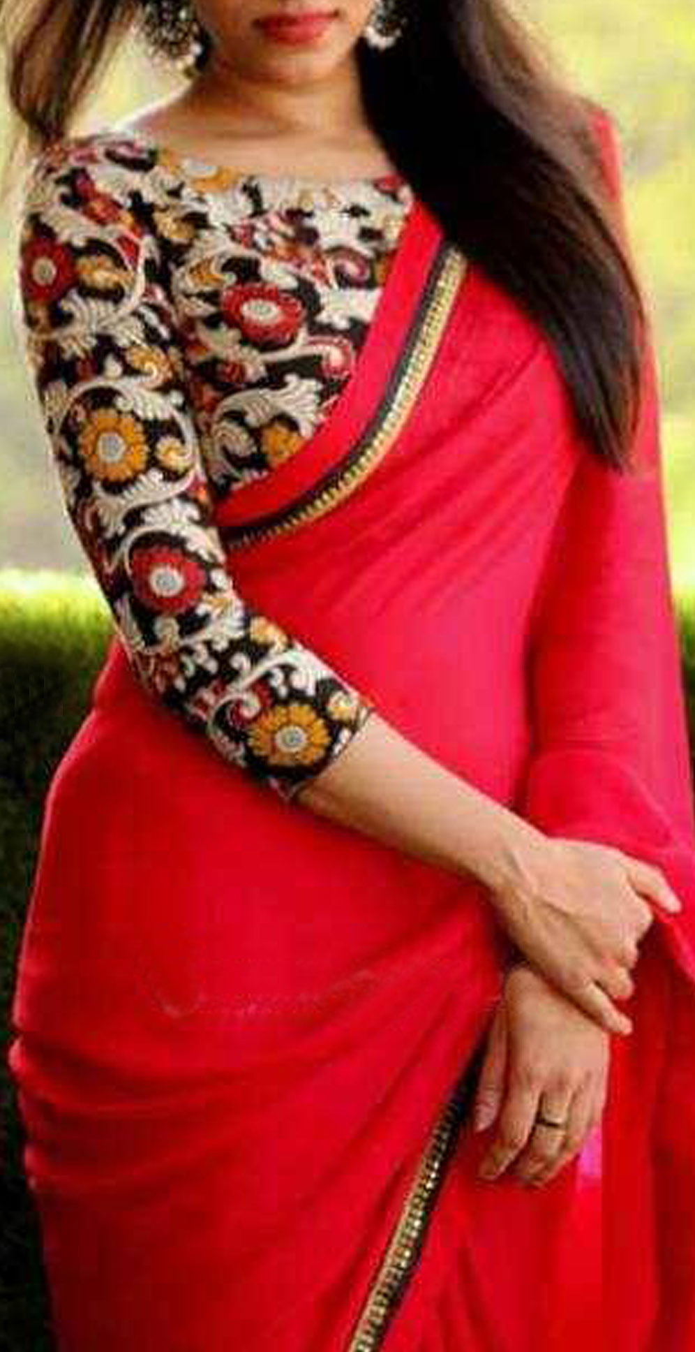 Red Border Work Saree with Printed Blouse