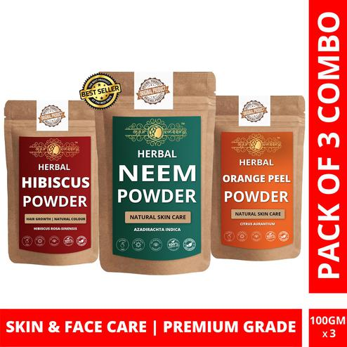 Neem, Hibiscus and Orange Peel Powder By Ayur Blessing | Triple Combo | For Face Pack and Skin Care