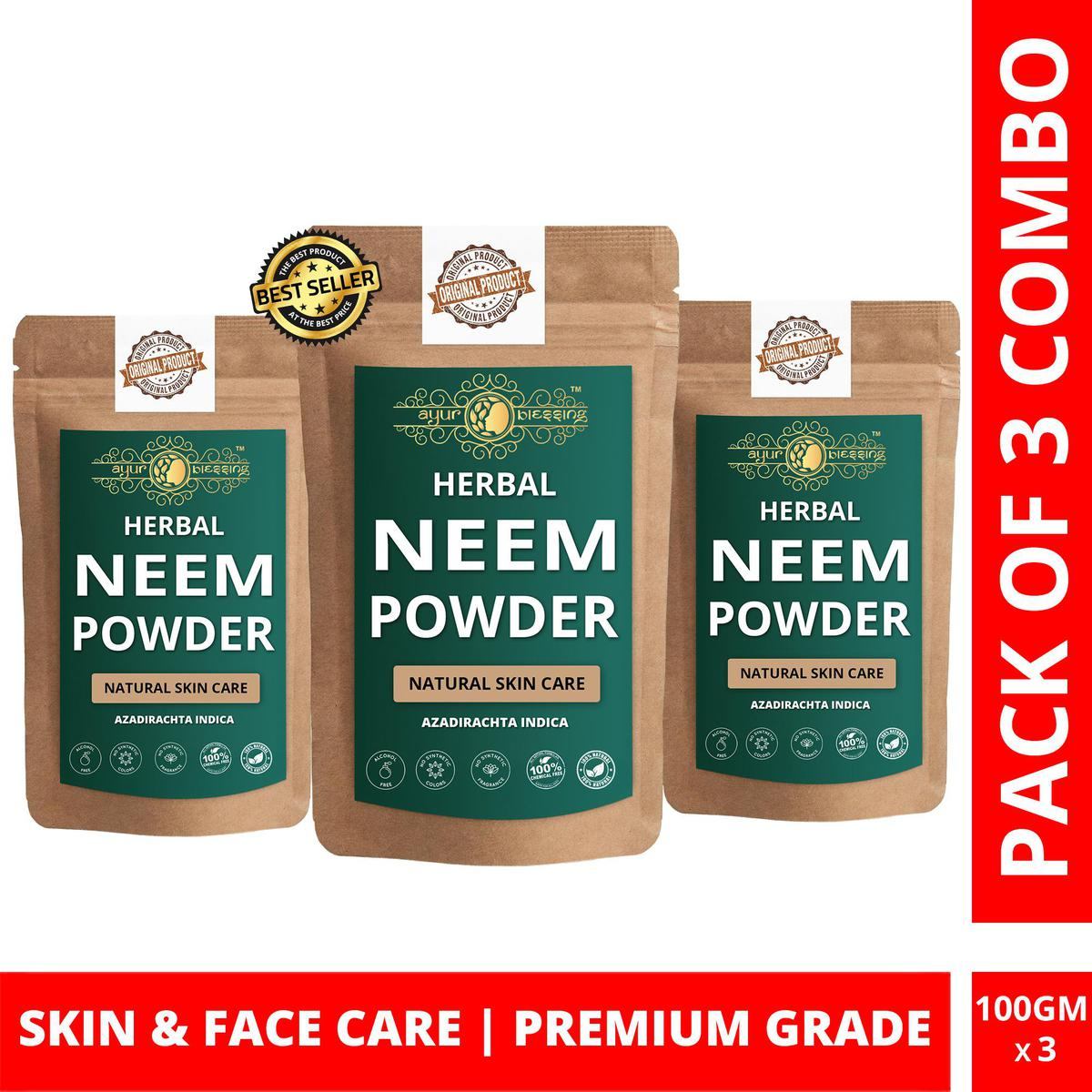 Neem Powder By Ayur Blessing   Triple Combo   For Face Pack and Skin Care