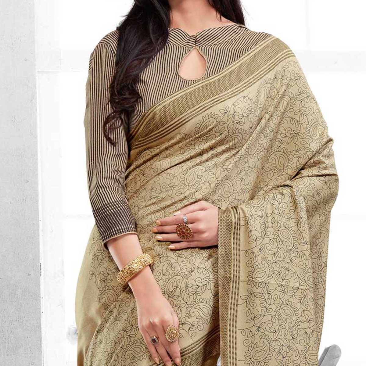 Beige Traditional Print Work Saree