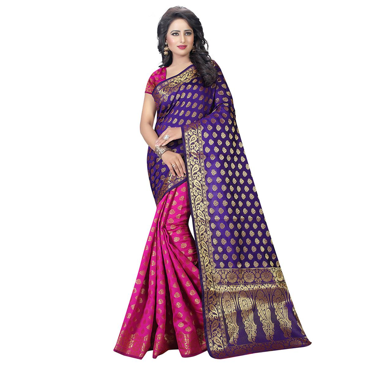 Purple - Pink Zari Woven Work Saree