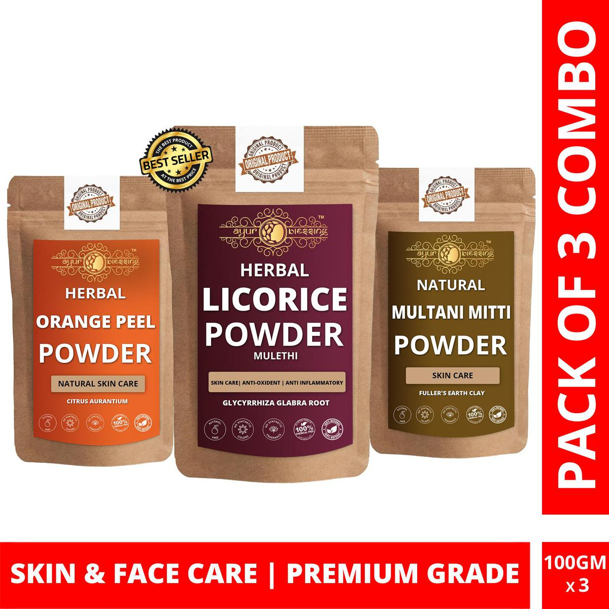 Licorice, Orange Peel and Multani Mitti Powder By Ayur Blessing   Triple Combo   For Face Pack and Skin Care