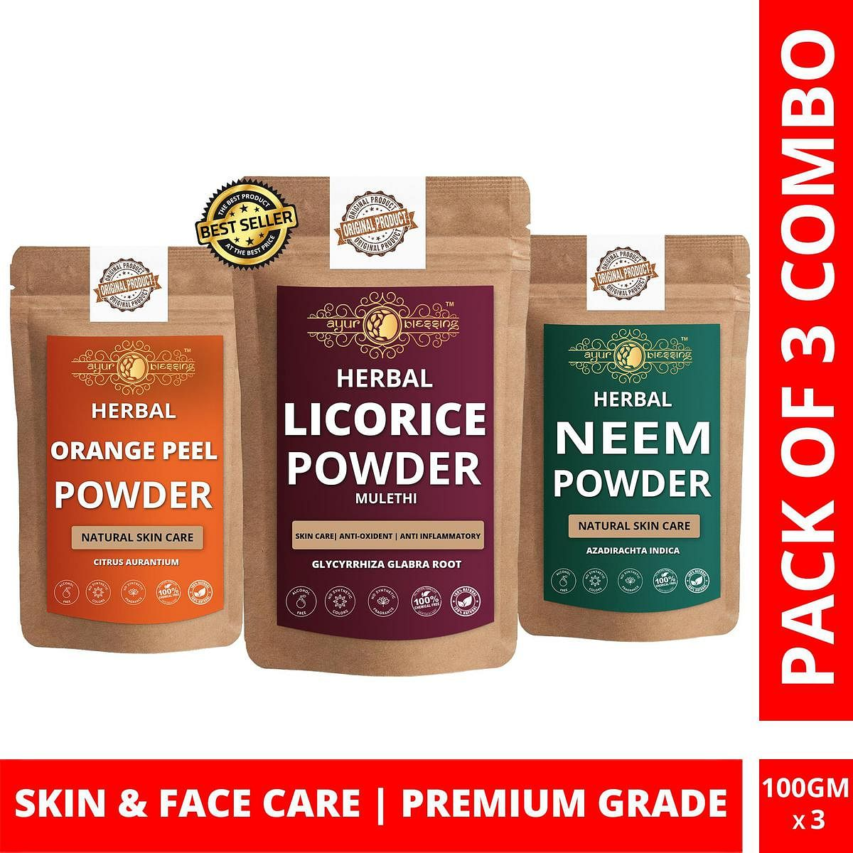 Licorice, Orange Peel and Neem Powder By Ayur Blessing | Triple Combo | For Face Pack and Skin Care