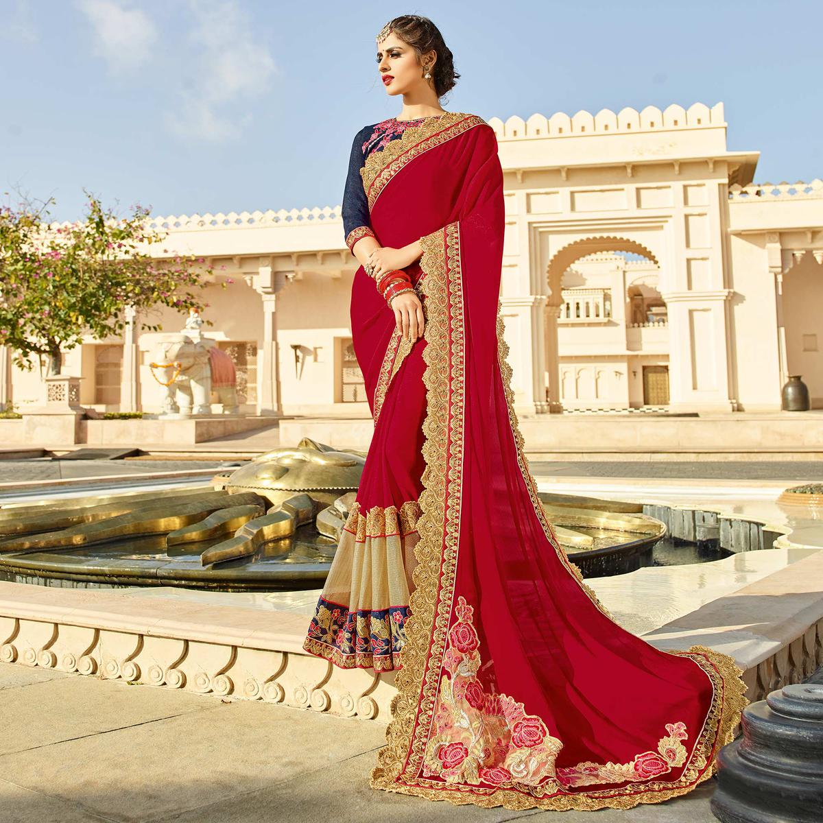 Red Embroidered & Patch Work Saree
