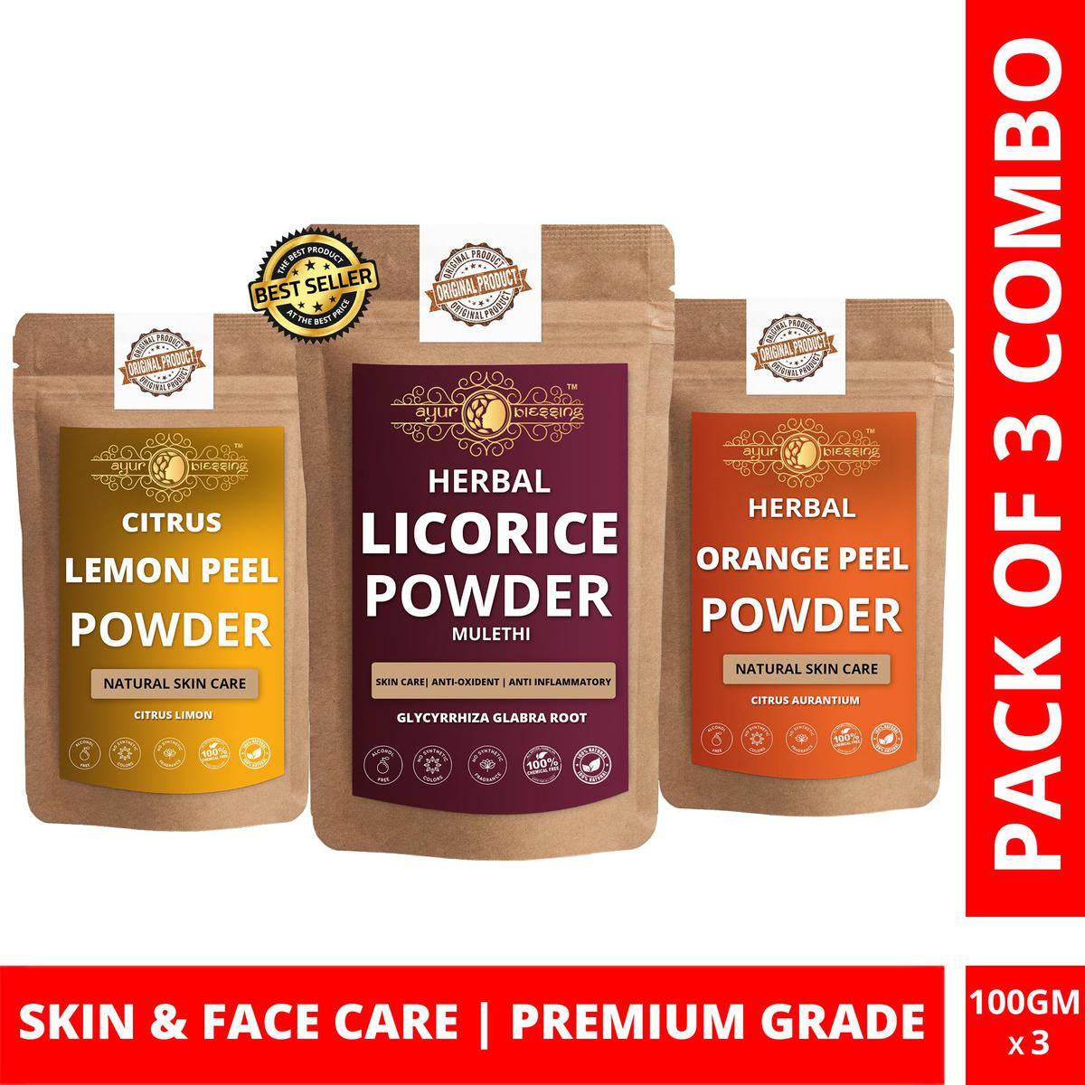 Licorice, Lemon Peel and Orange Peel Powder By Ayur Blessing | Triple Combo | For Face Pack and Skin Care