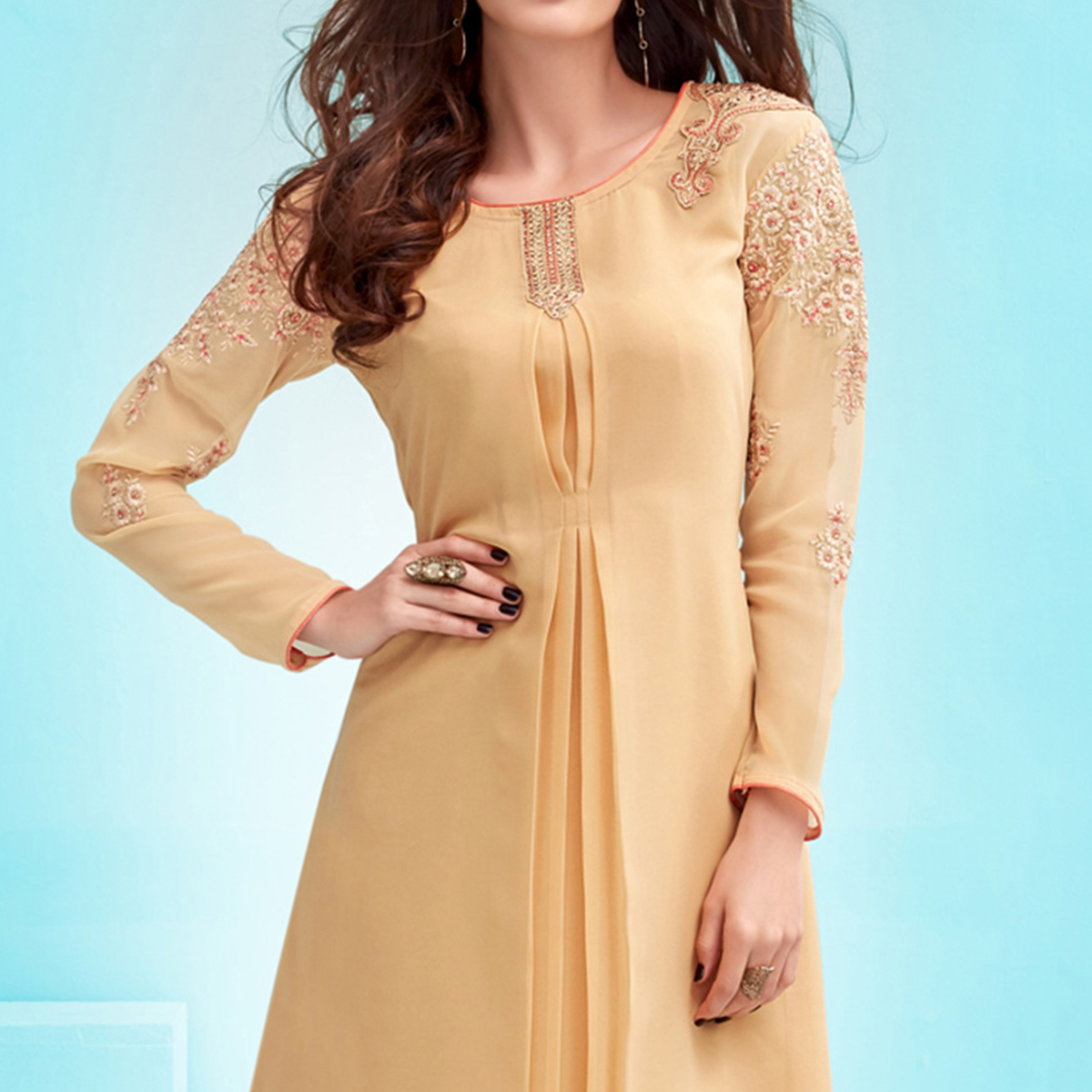 Cream Embroidered Work Georgette Kurti