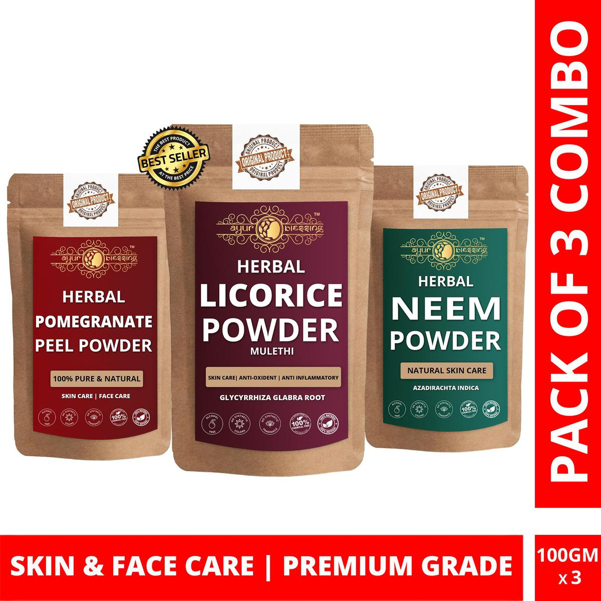 Licorice, Pomegranate Peel and Neem Powder By Ayur Blessing | Triple Combo | For Face Pack and Skin Care