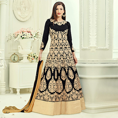 Black Heavy Embroidered Work Anarkali Suit