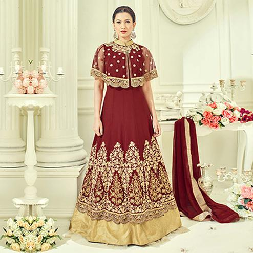 Maroon Party Wear Cape Style Anarkali Suit