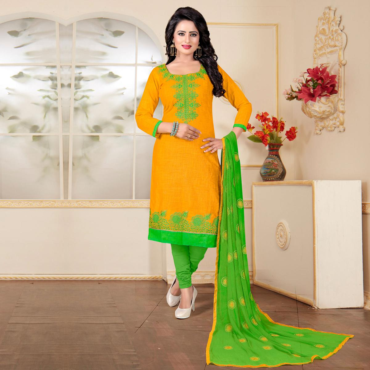Orange - Green Embroidery Dress Material