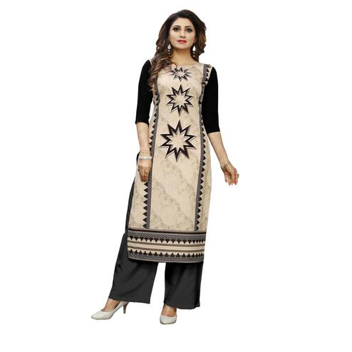 Intricate Cream Colored Casual Wear Digital Printed Calf-Length Straight Crepe Kurti