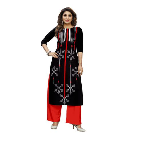 Arresting Black Colored Casual Wear Digital Printed Calf-Length Straight Crepe Kurti