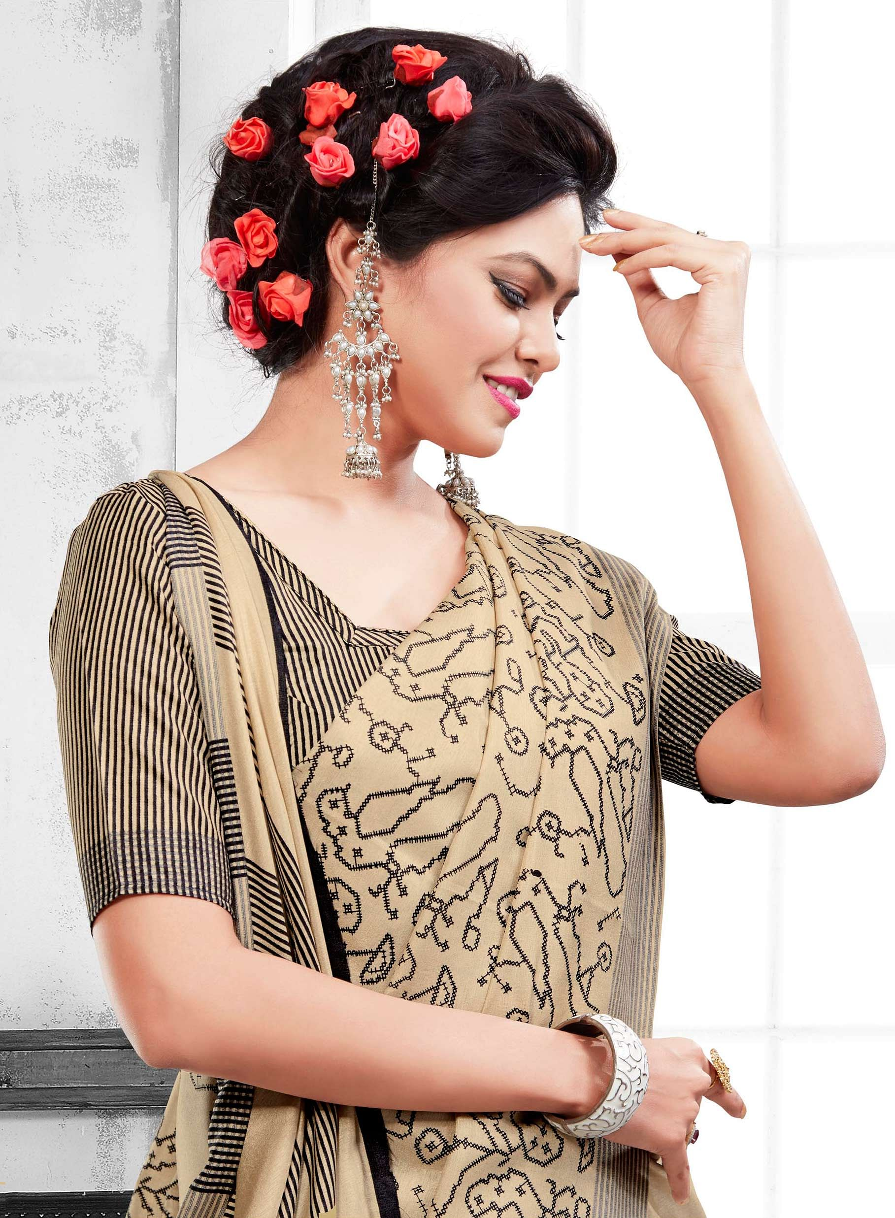 Beige Casual Wear Printed Saree