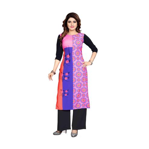 Desirable Pink Colored Casual Wear Digital Printed Calf-Length Straight Crepe Kurti
