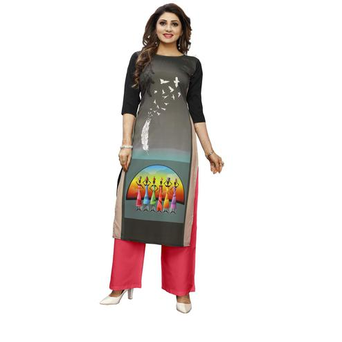 Exotic Grey Colored Casual Wear Digital Printed Calf-Length Straight Crepe Kurti