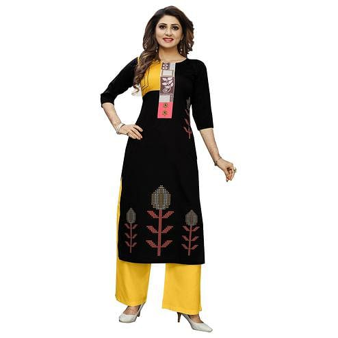 Radiant Black Colored Casual Wear Digital Printed Calf-Length Straight Crepe Kurti