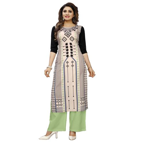 Pleasant Black Colored Casual Wear Digital Printed Calf-Length Straight Crepe Kurti