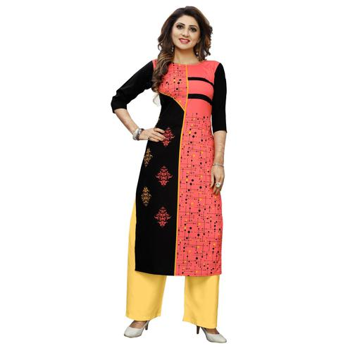 Opulent Red Colored Casual Wear Digital Printed Calf-Length Straight Crepe Kurti
