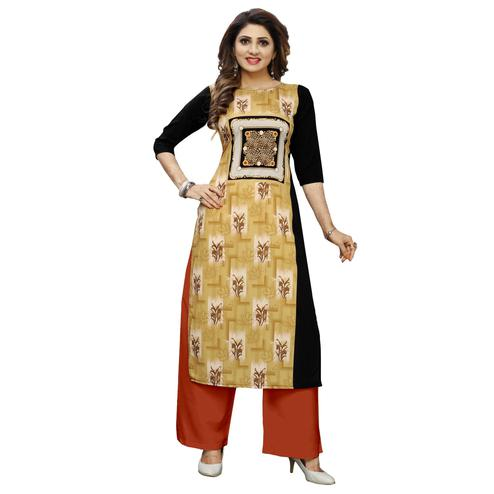Energetic Beige Colored Casual Wear Digital Printed Calf-Length Straight Crepe Kurti