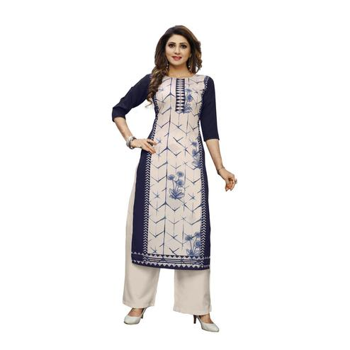 Glowing Blue Colored Casual Wear Digital Printed Calf-Length Straight Crepe Kurti
