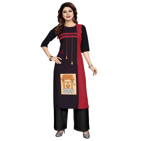 Adorning Black Colored Casual Wear Digital Printed Calf-Length Straight Crepe Kurti