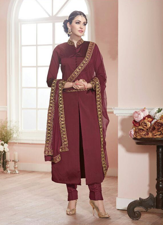 Maroon Pure Cotton Silk Party Wear Suit