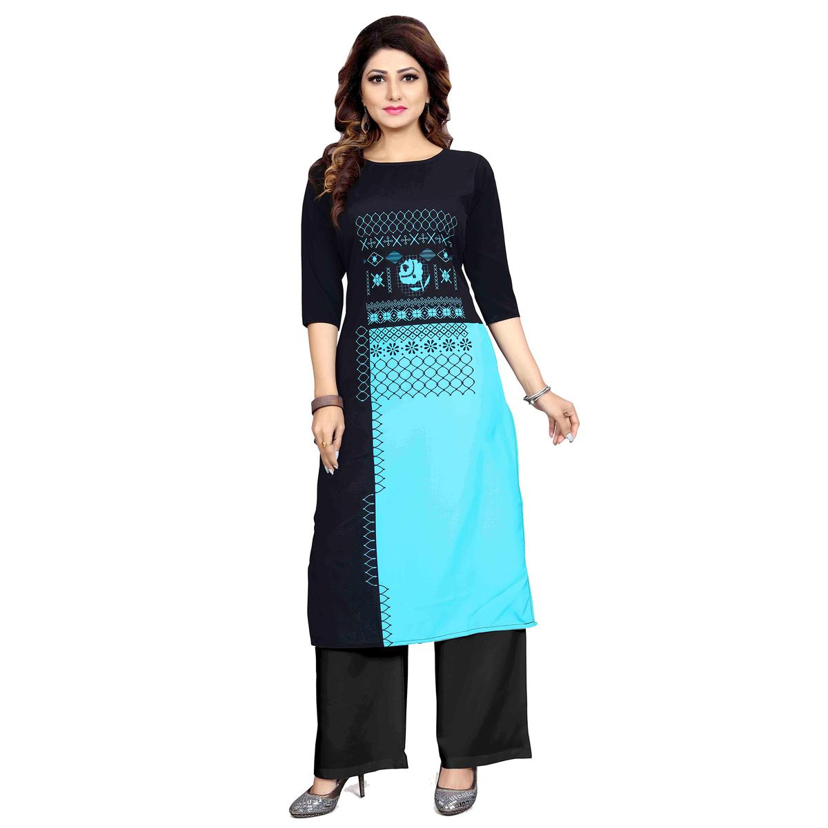 Groovy Black Colored Casual Wear Digital Printed Calf-Length Straight Crepe Kurti