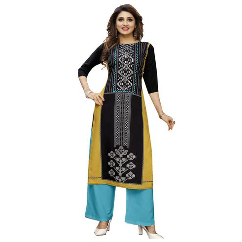 Classy Beige Colored Casual Wear Digital Printed Calf-Length Straight Crepe Kurti