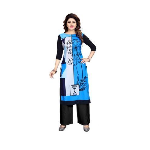 Trendy Blue Colored Casual Wear Digital Printed Calf-Length Straight Crepe Kurti