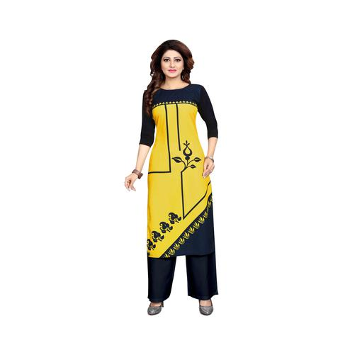 Pleasant Yellow Colored Casual Wear Digital Printed Calf-Length Straight Crepe Kurti