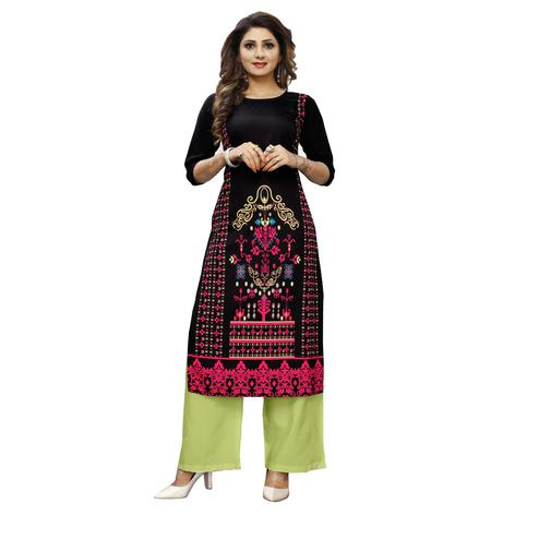 Opulent Black Colored Casual Wear Digital Printed Calf-Length Straight Crepe Kurti
