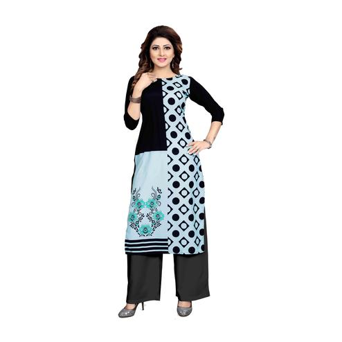 Energetic Sky Blue Colored Casual Wear Digital Printed Calf-Length Straight Crepe Kurti